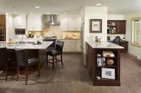 Two-Tone Kitchen has Massive Island and Home Office
