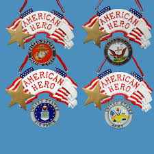 Show your patriotic side with military signs, Christmas ornaments, magnets  and even military-