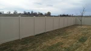 Image White Tan Vinyl Privacy Fencing Troy Fence Frontier Fence Vinyl Fencing Installation Services Boise