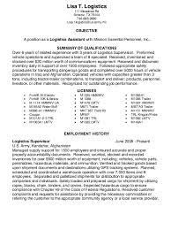 Logistics Assistant Resume Samples Danetteforda