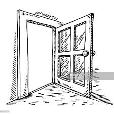 open door clipart black and white. Half Open Door Drawing Clipart Black And White