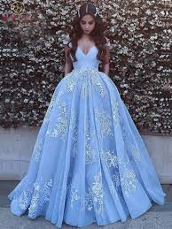 Light Blue Quince Dress Us 84 39 20 Off 2020 New Quinceanera Dresses Light Blue V Neck Off Shoulder Floor Length Ball Gown Formal Party Ceremony Long Graduation Gowns In