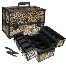 leopard print cosmetic train case take your makeup with you leopard aluminum makeup train case