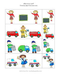 Cut Paste Community Helpers Worksheets For Kids Workers 1st Grade