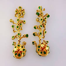 women s 14k yellow gold natural diamond and emerald chandelier earrings