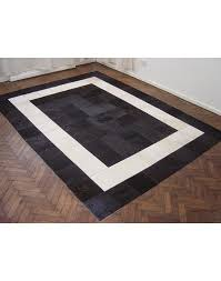 white black patchwork cowhide rug 508