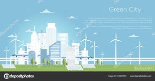 Eco City Solar Lights Vector Illustration Of Eco City Concept Big Modern City
