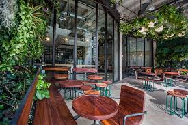 I stopped in after lunch at the the pink godzilla (my favorite sushi bar) and was drawn in by the super hip atmosphere. Verve Coffee Roasters Debuts Lush Espresso Bar In Downtown Verve Coffee Patio Patio Design