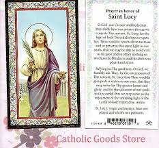 saint lucy with prayer in honor of st