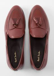 front view men s brown leather simmons tassel loafers paul smith