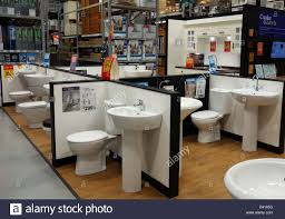 Bathroom suites on display in a B & Q store