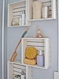 creative bathroom shelves made of whitewashed crates