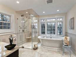bathroom designs. Traditional Bathroom Design With Freestanding Tub And Walk-in Shower. Designs E