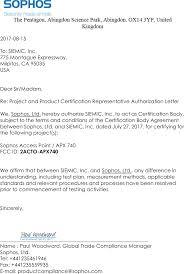 Dear Sir Madam Cover Letter Apx740 Sophos Access Point Cover Letter Authorization Letter Sophos Ltd