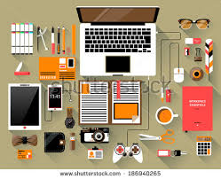 designer office desk isolated objects top view. flat design modern vector illustration concept of creative office workspace workplace top view designer desk isolated objects s