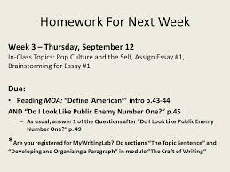 "effective discussion engaging readings ""mickey mouse as a  homework for next week week 3 thursday 12 in class topics"