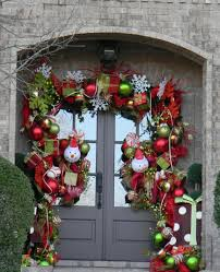 front door hangings15 Christmas Doors with Flower Ornaments  Home Design And Interior