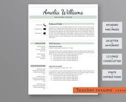 Teacher Resume Template Amelia Williams Outperforming Designs