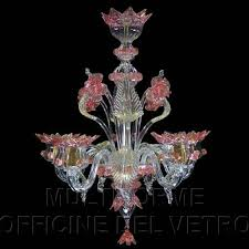 crystal colour with gold and pink details blown glass chandelier with 5 lights