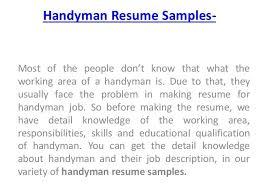 Download Handyman Resume Samples Ajrhinestonejewelry Com