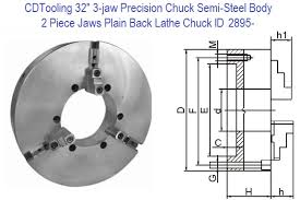 32 Inch 3 Jaw Self Centering Semi Steel Body Self Centering Scroll Chucks 2 Piece Jaws Plain Back With Hard Top Jaws Id 2895