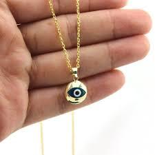 14k gold turkish evil eye necklace