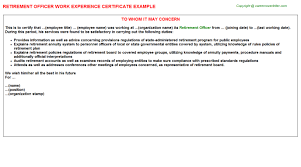 Science Officer Work Experience Letters