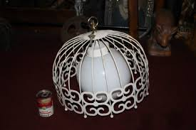 vintage mid century modern metal chandelier light fixture bird cage design large hover to zoom