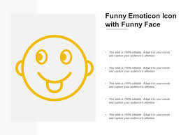 Funny Face Templates Funny Emoticon Icon With Funny Face Powerpoint Slide