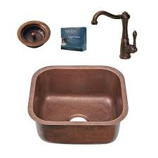 SINKOLOGY Chef Series Sisley AllinOne Undermount 185 In Single Bowl  Copper Copper Undermount Bar Sink O7