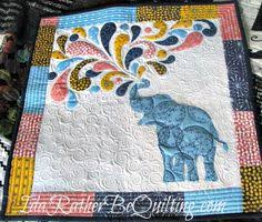 Just a little baby quilt featuring elephants in gray and yellow ... & Ida Rather Be Quilting: Elephant Mini Finish Adamdwight.com