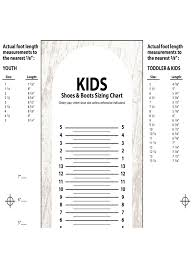 Kids Shoes And Boots Sizing Chart Edit Fill Sign Online