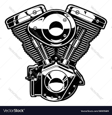 monochrome engine of motorcycle royalty free vector image