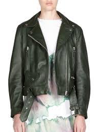 acne studios leather jacket dark green women s jackets vests