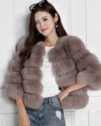 cropped fox fur jacket 793 coffee 1