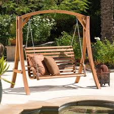 Christopher Knight Home Tulip Outdoor Wood Swinging Loveseat - Free  Shipping Today - Overstock.com - 16649055