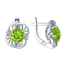 Серебряные <b>серьги</b> с <b>хризолитом</b> | JewelryDesign.EU