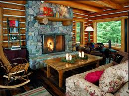 Log cabin interiors designs Rustic Cabin Log Cabin Stone Fireplace Great Room Log Home Living Log Home Interior Design