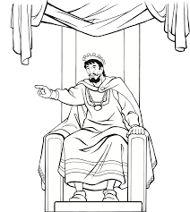 Medieval King On Throne Coloring Page