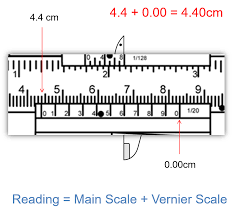 vernier caliper function. for example, in the image above, reading of main scale is 4.4cm and vernier 0.00cm. therefore, 4.4 + 0.00 caliper function i