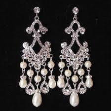 bridal chandelier earrings crystal pearl wedding earrings stat
