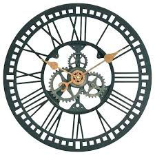 large industrial wall clock exposed gear wall clock wooden moving gear clock large exposed gear large large industrial wall clock
