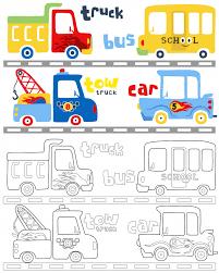 coloring book vector with vehicles cartoon premium vector