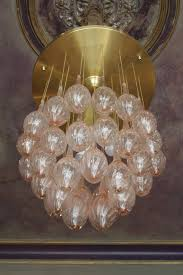italian mid century modern brass and pink murano glass teardrop chandelier for 2