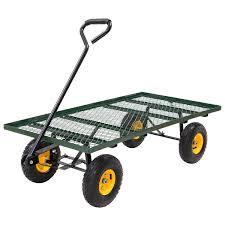 costway wagon garden cart nursery steel mesh deck trailer 800lb heavy duty cart yard gar 0