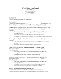 Graduate School Objective Resume And Post For Grad Admission Tem