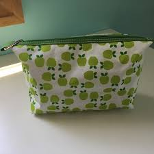 clinique apple print cosmetic bag
