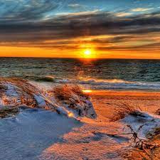 Sunset | Sunset, Beach sunset, Winter beach