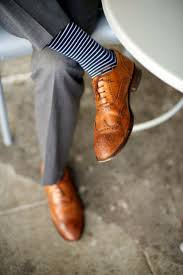 how to wear grey dress pants tan leather brogues navy and white horizontal