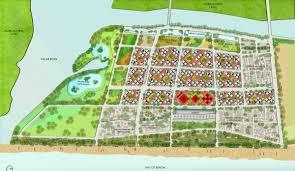 master plan showing the individual neighborhoods surrounding the community core enlargement in new window